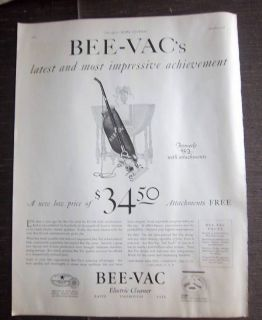 1926 Antique Bee Vac Electric Vacuum Cleaner Ad