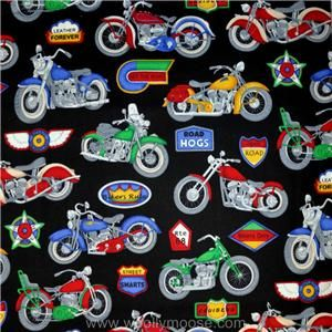 Cranston VINTAGE Motorcycle HOGS Bikers Rule Black QUILT Fabric 1/2 YD