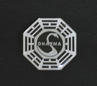 lost tv series dharma project white black swan logo pin