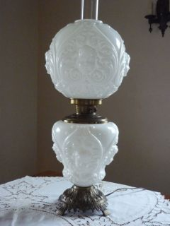 Antique Milk Glass Cherub Angel Face GWTW Hurricane Lamp
