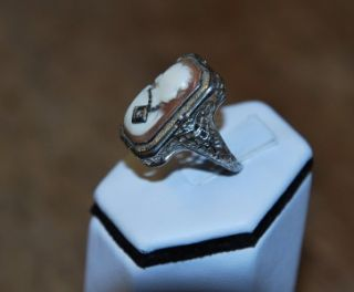 Antique RARE Flip Ring 14k White Gold Filigree Cameo and Black Onyx