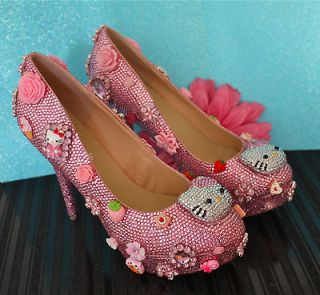 BEAUTIFUL HELLO KITTY PINK CRYSTAL HIGH HEEL BRIDAL PLATFORM DRESS