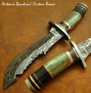 Antonio Banderas MARVELOUS 1 OF A KIND CUSTOM DAMASCUS KNIFE FOSSIL