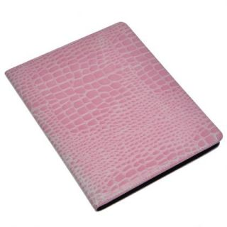 Pink Crocodile Leather Case Smart Stand Cover For Apple New iPad2