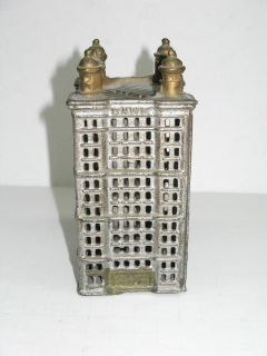 Antique Vintage Cast Iron Bank Building Coin Bank Nice