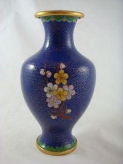 Vintage Chinese Cloisonné Gold Gilded Enameled Blue Floral Vase