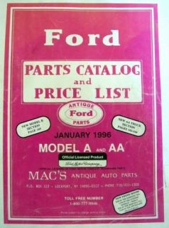 1996 Macs Antique Auto Parts Catalog Price List Ford Model A AA