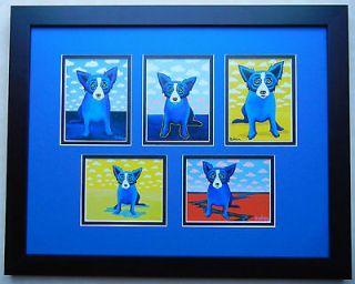 GEORGE RODRIGUE BLUE DOG COMPLETE CLOUDS SERIES FRAMED *L@@K*