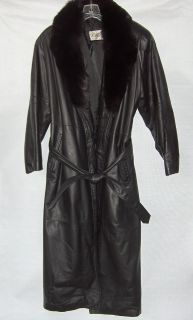 Genuine Leather & Fox Fur Full Length Black Winter Trench Coat Womens