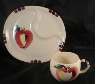 1940 Purinton Slipware Apple Divided Snack Plate Complete w Cup