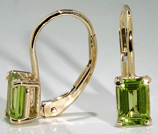 Drop Earrings 14k Yellow Gold 2 CTW Emerald Cut Peridot