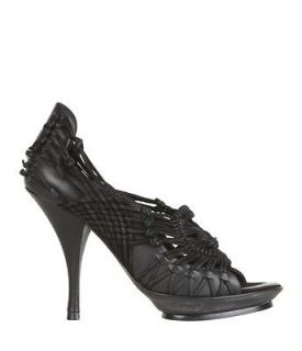 New All Saints Spitalfields Hestia hand woven stiletto shoe Black Size