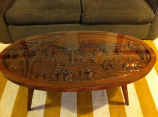 Mid Century Hand Carved Asian Folk Art Coffee Table