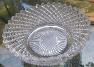 Pressed Glass EAPG Diamond Point Pointed Edge Bowl Cut Bottom A4