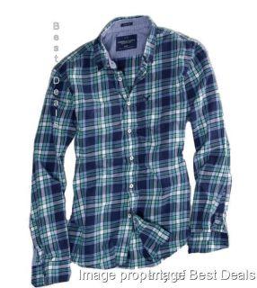 American Eagle AE Mens Athletic Fit Navy Blue Plaid Shirt New Free