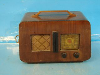 Airline Antique Tube Radio Deco Brown Wood Case Table Top Shelf Parts