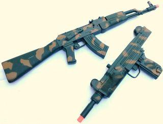 Military Soldier Army AK47 UZI Dart Machine Gun Toy Weapons Kids Safe