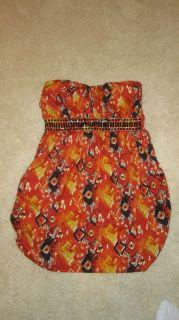 Arden B Strapless Tribal Print Embellished Dress Size Large L Orange