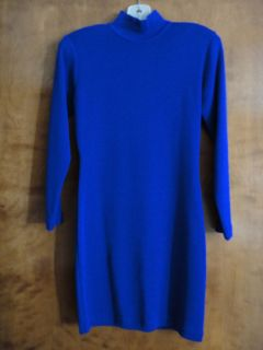 Wool Dress Merino Cobalt Blue Womens Petite Small Long Sleeve