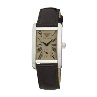 Armani Womens Stainless Steel Case Brown Leather Mineral Glass Watch