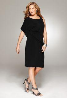 Avenue Plus Size Ruched Faux One Shoulder Dress