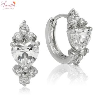 NEW ARRIVALS HEART CUT WHITE TOPAZ 18K WHITE GOLD PLATED LADY HOOP