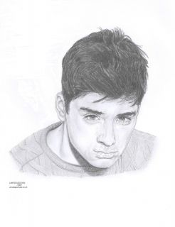 Zayn Malik 1D One Direction Limited Edition Pencil Art Drawing Print
