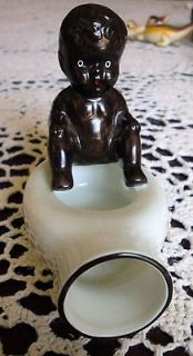 Black Americana Porcelain Baby Boy on Bedpan Toilet Ashtray Smoking