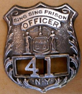 sing sing prison officer n y silver badge repro #