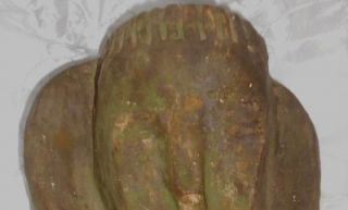 OLD GREEN PAINTED BISQUE RELIGIOUS MAN HEAD BUST FOLK ART MONK STATUE