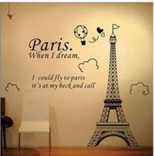 DIY Decorative Wall Paper Art Sticker Paris Eiffel Tower