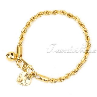 Baby 18K Gold Filled Rope Chain GF Jewelry Heart Bell Charm Bracelet
