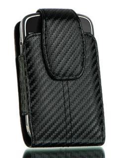 Apple iPhone 5 Black Carbon Fiber Leather Pouch Holster Fit Hard Cover