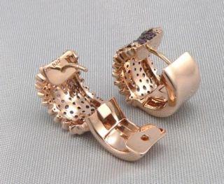 14K GOLD 1.55ctw Purple SAPPHIRE & DIAMOND WIDE Small HOOP EARRINGS 12