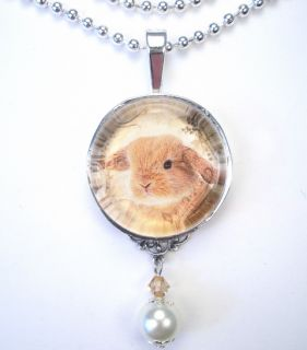 Holland Lop Baby Rabbit Vintage Charm Pendant Necklace