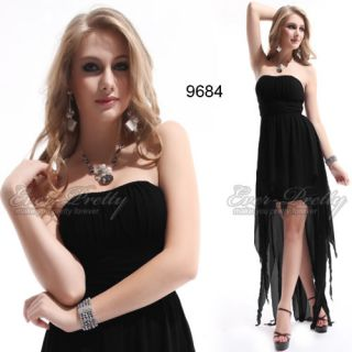 Asymmetric Hem NWT Black Ruffes Strapless High Low Prom Dress 09684 AU
