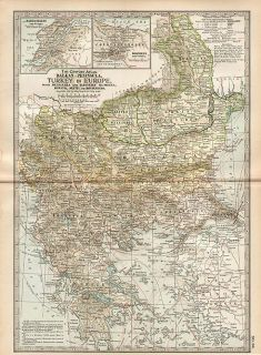 Bulgaria Fine Authentic Antique Map Bosnia Serbia Genuine 115 Years