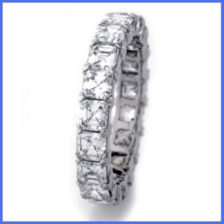 85 3 30ctw Asscher Cut Diamond Eternity Ring Wedding Band White Gold