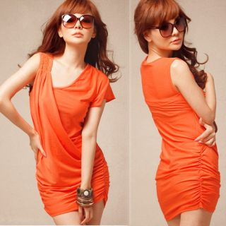 Women Asymmetric Short Sleeve Sleeveless Stud Stretch Mini Dress