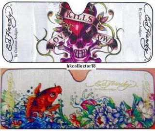 Lot of 2 Ed Hardy Auto Car Sun Shade Visor Standard KOI FISH LOVE