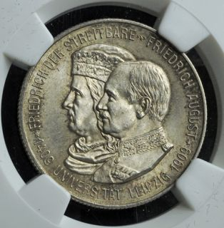1909, Germany, Fredrick August III. Silver 2 Mark Coin. NGC MS 65!