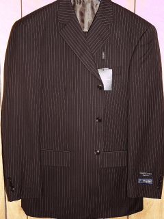 Mens Giorgio 3 Button Brown Pinstripe Wool Designer Business Desinger