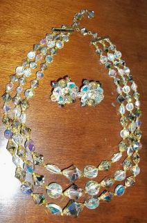 Aurora Borealis Crystals 3 Strand Necklace Earrings Jewelry Set
