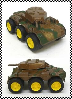 Metal Brown Camo 6 Wheel Armored Car or Tank by Tootsie Toy