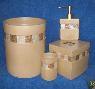 4pc Bathroom Accessory Set Trashcan Tumbler Tissue Box Cover Lotion or