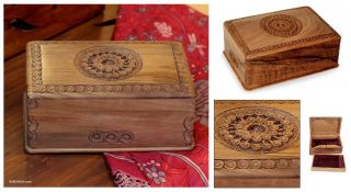 Exotic Radiance Artisan Hand Carved Walnut Wood Jewelry Box Floral