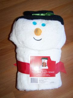 Snowman Hooded Bath Towel Toddler Ages 3 7 Christmas Holiday Cotton