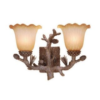 New 2 Light Rustic Pine Tree Bathroom Vanity Lighting Fixture Amber