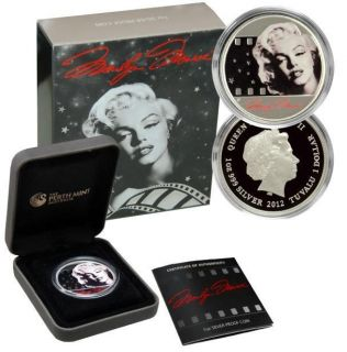2012 $1 Marilyn Monroe 1oz 999 Proof Silver Coin Perth Mint in