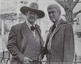 John Wayne Jimmy Stewart 8x10 Autographed B w Reprint The Shootist